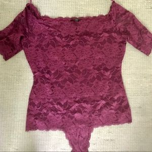 Guess of the shoulder lace bodysuit NWOT